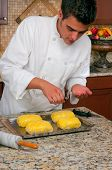 stock photo of beef wellington  - Chef making beef Wellington - JPG