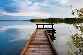 picture of pier a lake  - wooden pier on big lake in Groningen - JPG