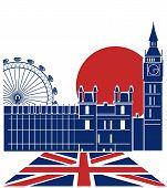 London Landmark.vector Background With England Flag poster