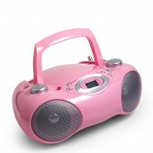 pic of dick  - stereo cd pink mp3 radio cassette recorder is isolated on a white background - JPG