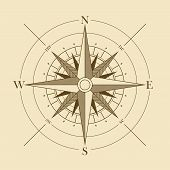 stock photo of longitude  - Vector oldstyle wind rose compass - JPG