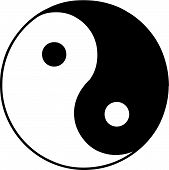 picture of ying-yang  - Vector illustrated ying and yang symbol on white background - JPG