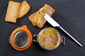 stock photo of canard  - Canard Foie gras Pate made of the liver of a duck or goose with toasted bread slices - JPG