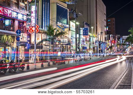 NAHA, JAPAN - NOVEMBER 12: International Street November 12, 2012 in Naha, JP. The street is the main thoroughfare and entertainment district of the city.