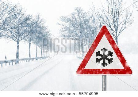 winter driving - caution - snowfall