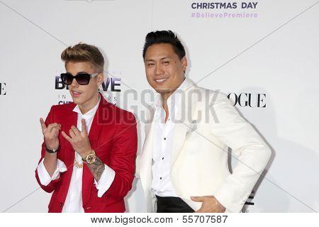 LOS ANGELES - DEC 18:  Justin Bieber, Jon M. Chu at the