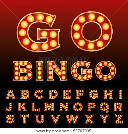 vector red golden entertainment and casino letters with bulb lamps