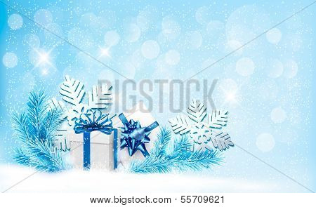 Christmas blue background with gift boxes and snowflakes. Raster version