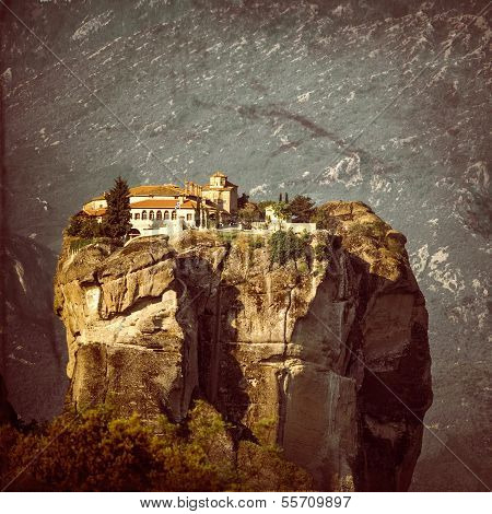 Vintage Coaster - Greece, Meteora, Monastery Holy Trinity