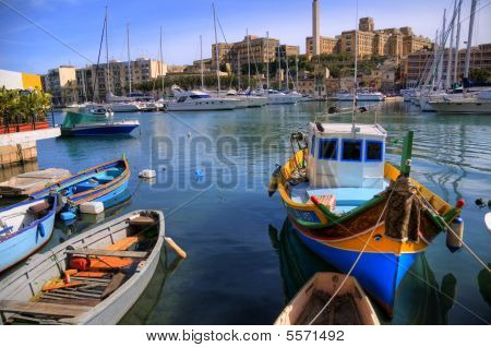 Boats Docked in Valletta Bay