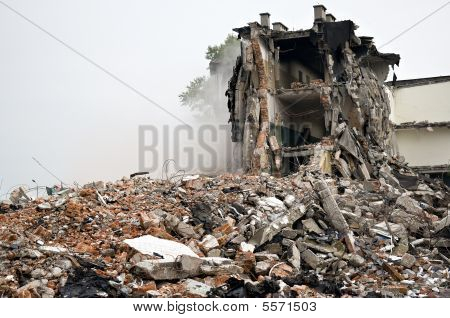 Destroyed Building, Debris. Series