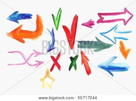 Watercolor  Colorful Sketch Arrow Set.