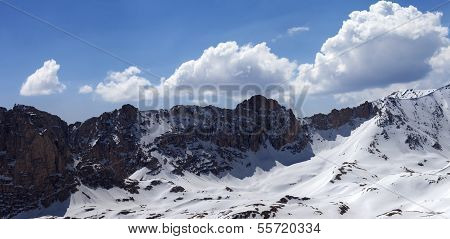 Panorama Of Snowy Mountains In Nice Sun Day