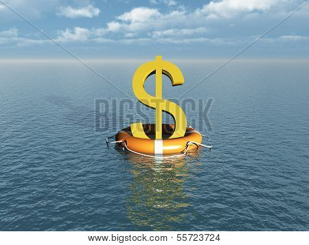 Money symbol at sea with lifebelt