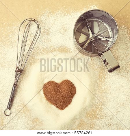 Vintage Style Photo. Valentines Day, Heart Of Brawn Sugar