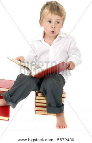 Cute And Studious Toddler Reads Outloud