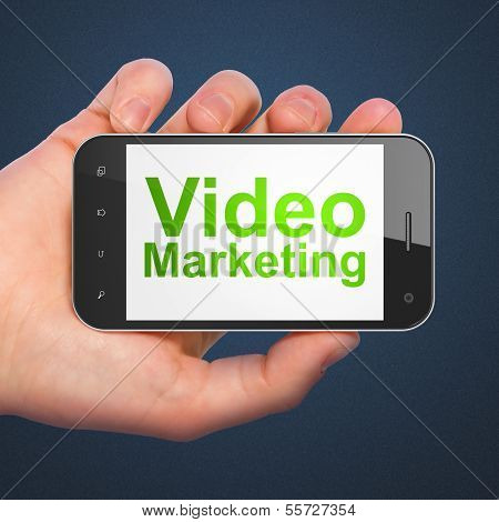 Business concept: Video Marketing on smartphone