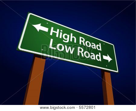 High Road, Low Road Green Road Sign Illustration