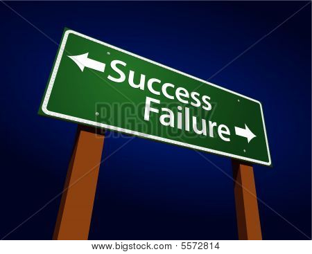 Success, Failure Green Road Sign Illustration