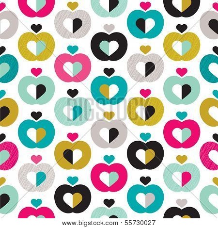 Seamless apple love illustration retro background pattern in vector