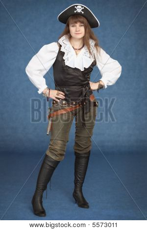 Beautiful Girl - Pirate Stand On Blue Background