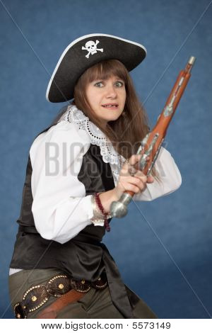 Frightened Pirate Girl - With Pistol