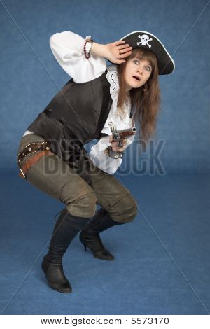 Frightened Pirate Girl - With Pistol On A Blue