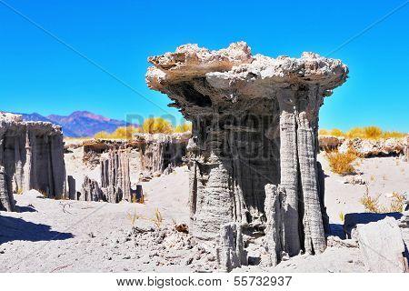 Limestone pillars Tufa in Mono Lake.Clear sunny day