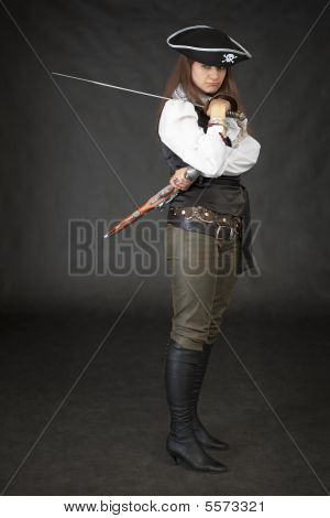 Girl - Pirate With Sabre And Pistol On A Black