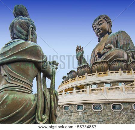 Big Buddha of Lantau Island in Hong Kong, China.