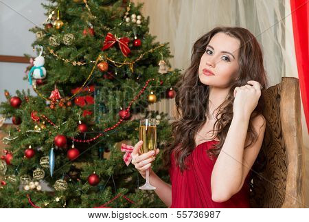 Girl With A Glass Of Champagne On New Year's Tree