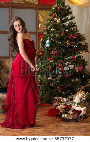Girl On New Year's Tree