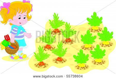 Girl in a vegetable garden