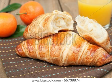 Breakfast With Juice And Croissant