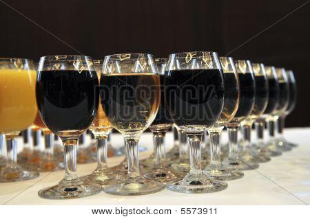 Glasses Of Wine In Restaruant