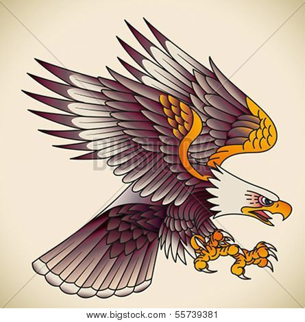 Bald eagle attacking. Old-school tattoo design. Editable vector illustration.