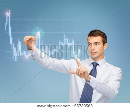 business, technology and money concept - businessman working with forex chart on virtual screen