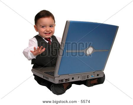 Boy Child In Business Suit On Laptop Smiling