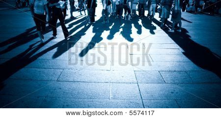 People Shadows On A Ground