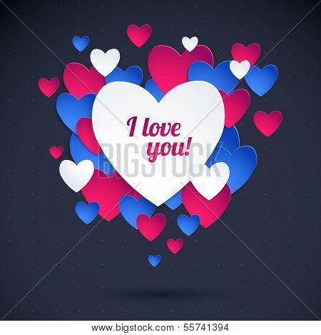 Color Heart Paper Stickers Valentine's day. Happy Valentine's day!