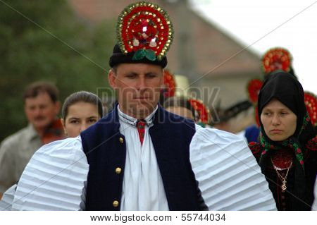 Traditional Hungarian wedding in traditional clothes