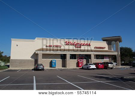 JACKSONVILLE, FL - NOV 28: A Walgreens store in Jacksonville, Florida on November 28, 2013. Walgreens is the largest drug retailing chain in the United States with 8,582 stores in all 50 states.