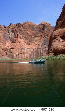Boating (or rafting) through Glen Canyon : Bigstock