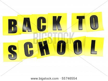 Back to school in yellow note