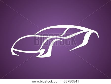 Sport auto vector over purple
