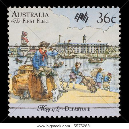 AUSTRALIA - CIRCA 1987: A stamp printed in Australia shows Sailor, 200 years of colonization of Australia Series: Departure: May 1787, circa 1987.