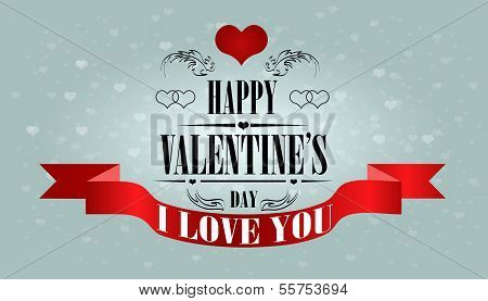 Valentine's Day Beautiful Card. Vector