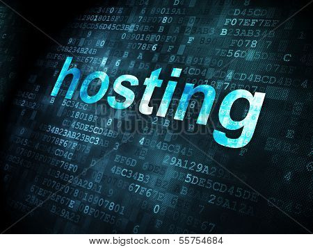 SEO web design concept: Hosting on digital background