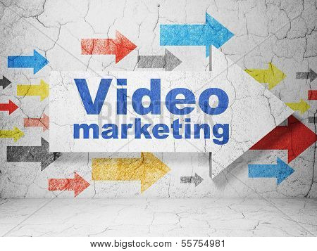 Business concept: arrow with Video Marketing on grunge wall background