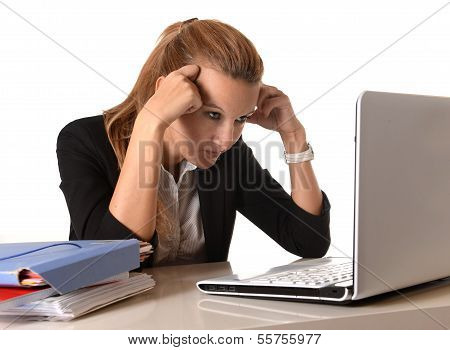 Young Attractive Female Student With Computer Stressed